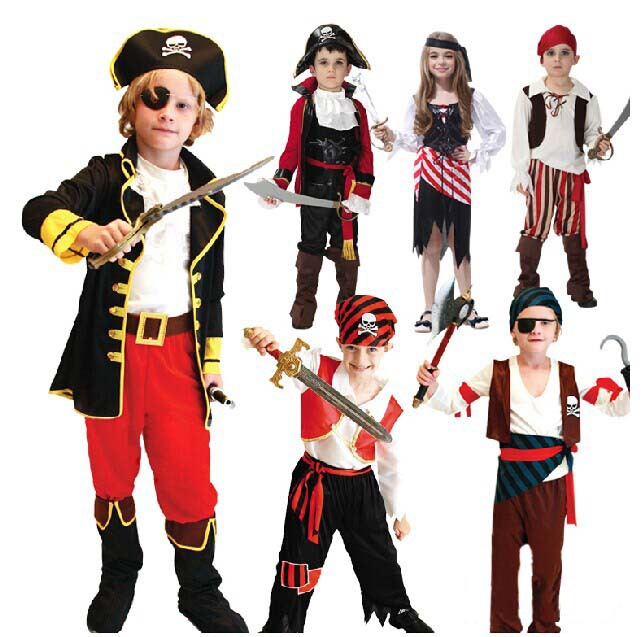 Unisex Childrens Pirate Fancy Dress Costume Buccaneer Halloween Outfit Boys 4-12 Yrs(China (Mainland))