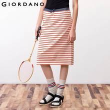 Giordano Women Knitted Skirt Cotton Long Skirts Saia Feminina Faldas Cortas Midi Striped Skirt Jupe Femme Soft Cotton(China (Mainland))