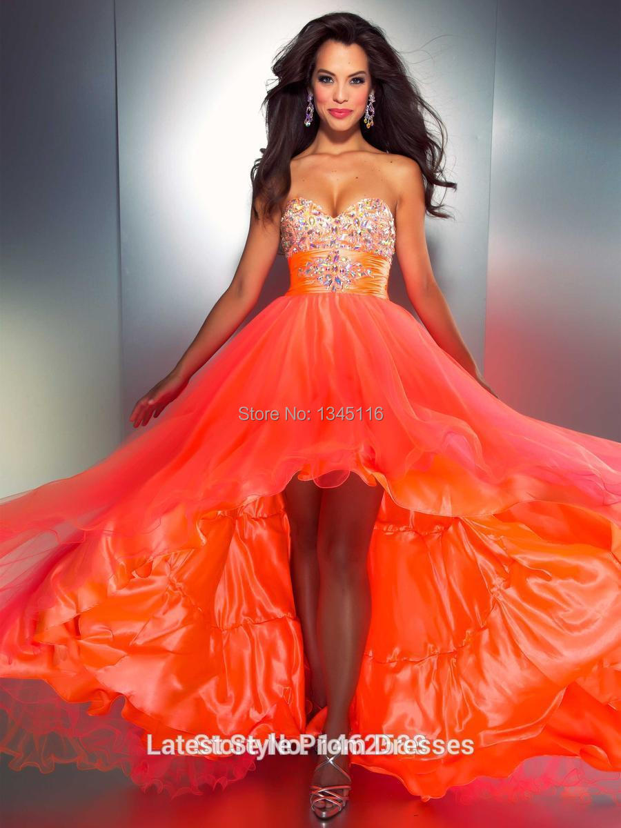 High Quality Prom Dress Short Orange-Buy Cheap Prom Dress Short ...