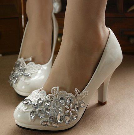 Ivory rhinestones lace wedding shoes for women new design female ladies party pumps dress shoes pumps custom make heel shoe<br><br>Aliexpress