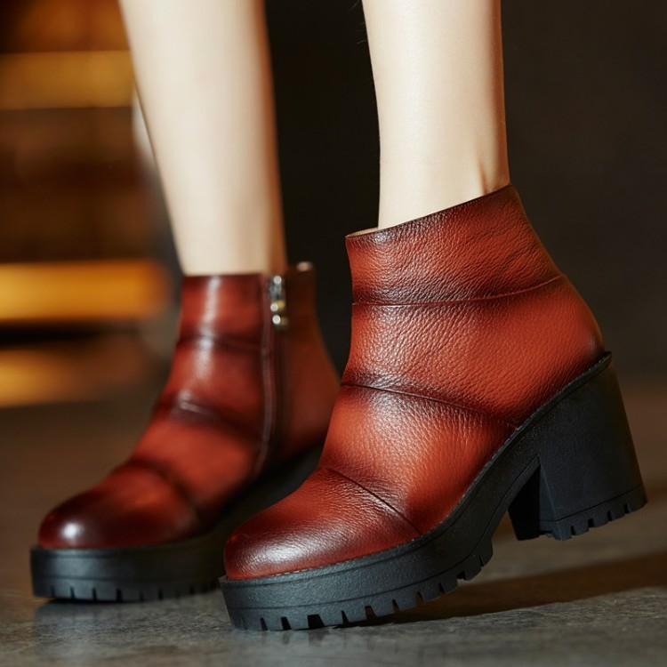 Фотография women platform short ankle boots autumn winter botas high quality martin buckle footwear warm heels boot shoes EUR size 34-41
