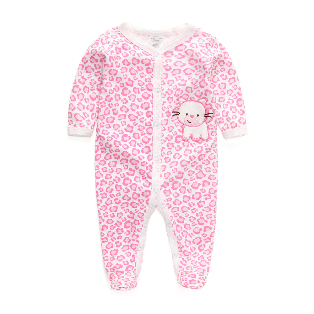 Newborn Baby Rompers Clothes Long Sleeve 100% Cotton Pajamas Boys Girl Toddler Cartoon Sleepwear Infant Clothing(China (Mainland))
