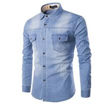 La alta calidad de hombre delgado denim shirts new más el tamaño M-6XL moda casual wash azul de manga larga jeans Cargo Chemise Homme(China (Mainland))