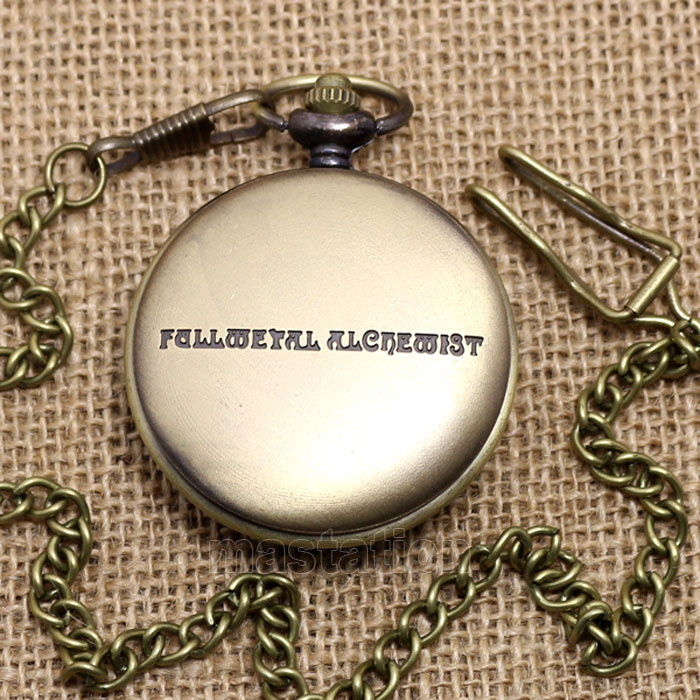 Cool Japanese Animation Fullmetal Alchemist Theme Bronze Quartz Pocket Watch With Necklace Chain Gift To Children