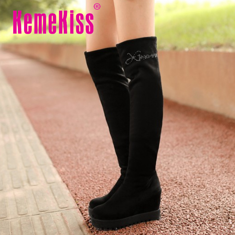 CooLcept Free shipping over knee wedge boots women snow fashion winter warm footwear shoes boot P15319 EUR size 34-39<br><br>Aliexpress