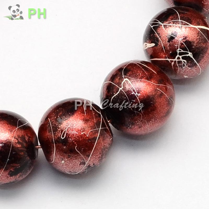 """Spray Painted Drawbench Glass Round Bead Strands, Brown, 4~5mm, Hole: 1mm; about 224pcs/strand, 31.5""""(China (Mainland))"""