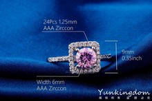 Classic hollow out design Fashion Blue CZ Diamond Rings Real white Gold plated high end Brand