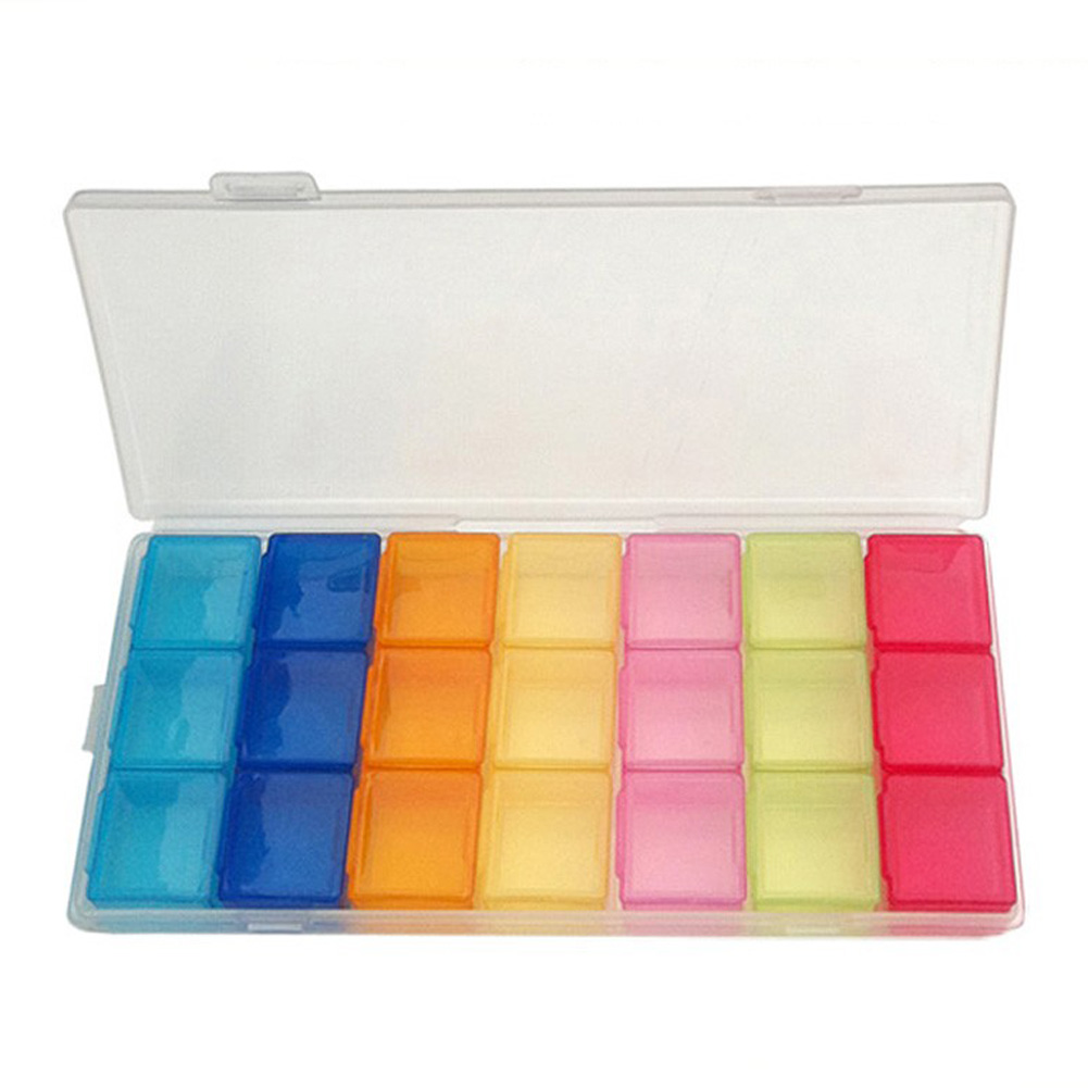 21 Slots 7 Days Pill Box Case Portable Empty Weekly Organizer Compartment Lid Tablet Pill Case For Medicine Pill