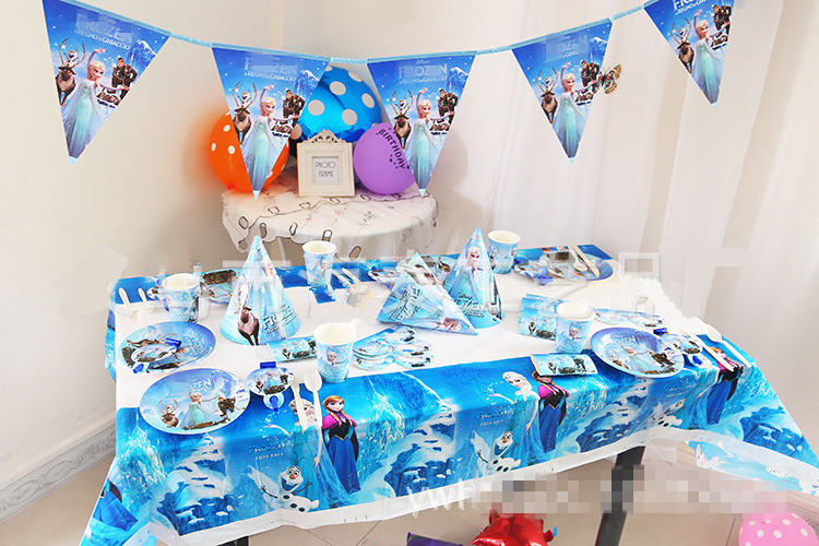 Beku elsa anna cartoon luxury baby happy birthday party for Anna decoration in home