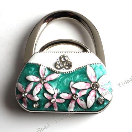 2pcs Green Handbag Folding Purse Hanger Purse Hook Handbag Holder For Lady in Stock 170014(China (Mainland))