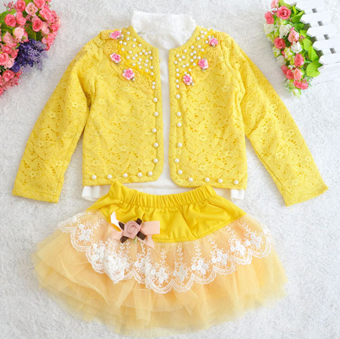 kids clothes Pearl flowers Duolei Si long-sleeved skirt three-piece children clothing fancy baby girl clothes vetement enfant <br><br>Aliexpress