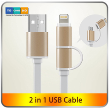 2 in 1 Micro USB Cable Data Sync Charger Mobile Phone Cable For iPhone 6 5S 5 Samsung Galaxy Android Aluminum Adapter Charge 1M