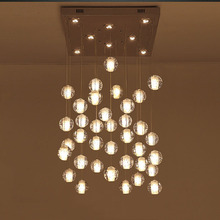 36 Lights Clear Cast Glass Crystal Sphere Magic Ball Meteor Shower Chandelier  Polished Chrome Rectangular Stainless Steel Base(China (Mainland))