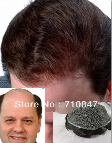 100% Human hair Swiss lace hair replacement men toupee free shipping