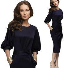2016 Self Portrait  Women Business Dress Black Vintage Formal Tunic Work dress Bodycon Pencil Midi Dress