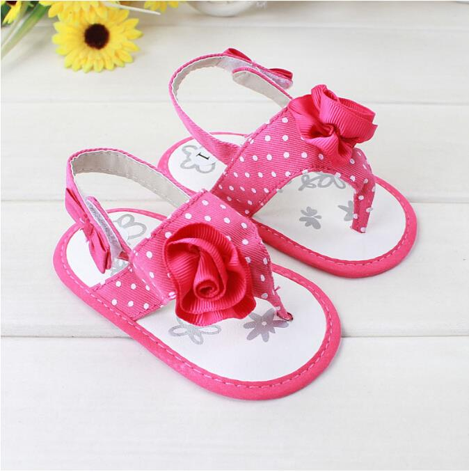product 2015 New Design Cute Rose Floral Pola Dot Fretwork Baby Girl Princess Shoes Summer Baby Girl Sandals Shoes Bebe First Walkers