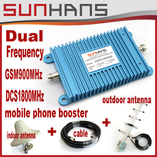 Direct Marketing Sunhans Dual Frequency GSM 900MHz / DCS1800MHz mobile phone signal repeater booster with all parts 1sets(China (Mainland))