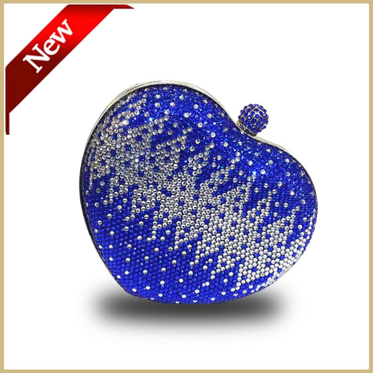 DHL Free High Quality Evening Clutch Blue Wedding Party Clutch Handbag Heart Shape Crystal Burgundy Clutch Bag Pouch Bags(China (Mainland))
