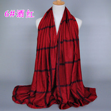 Free shipping Lady Women Neck Warm Tartan Grid Pashminas Reversible Shawl Scarf WrapM3570
