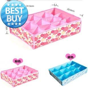 2014 Factory direct sales HOT 31*23*11CM Non-Woven Fabric Hot Sale Folding 12 Grid Storage Box for Bra,Underwear,Socks(China (Mainland))