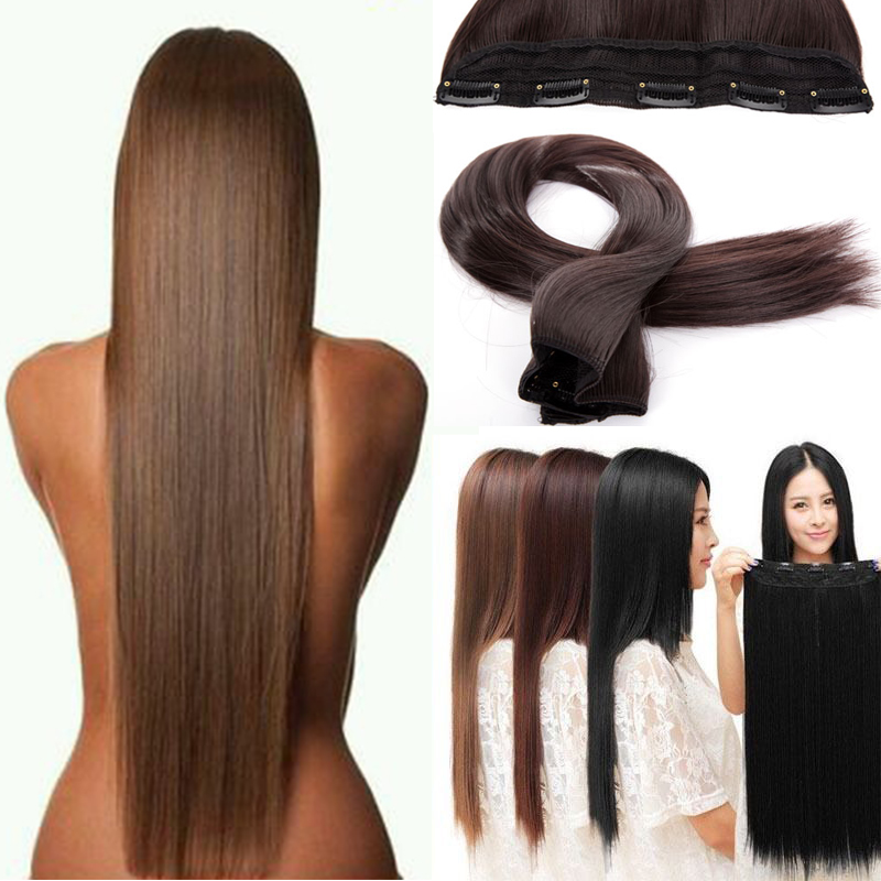 New 58cm-76cm Long Straight 3/4 Full Head Clip in Hair Extensions 5clips on One Piece Hairpiece 100% Real Natural Synthetic Hair<br><br>Aliexpress