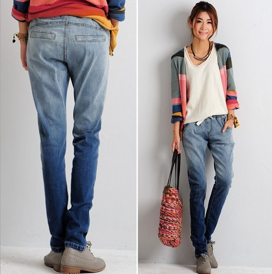 high quality gradient female boyfriend jeans pants drawstring waist pantalon femme long jean. Black Bedroom Furniture Sets. Home Design Ideas