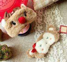 Cute 1pc 18cm plush elk wapiti monkey eye mask blinder pacify sleep stuffed toy girl children gift(China (Mainland))
