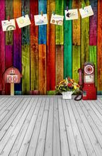 Cards clip colorful wood siding wall flowers old telephone hot cloth digital wedding photography studio theme background A043(China (Mainland))