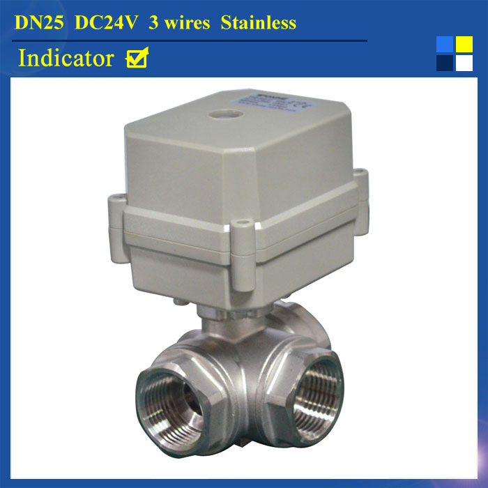 "Фотография New BSP/NPT 1"" (DN25) Stainless Steel DC24V 3 Wires 3-Way L Type Electric Shut Off Valve With Indicator"