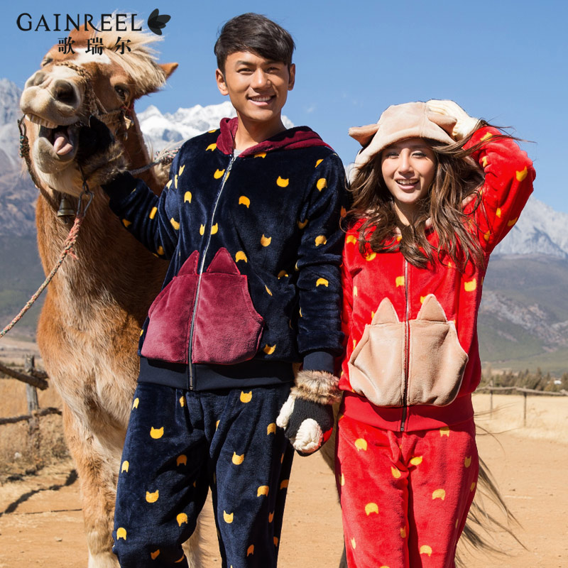 Male and female song Riel autumn and winter long sleeved flannel pajamas cartoon couple home service