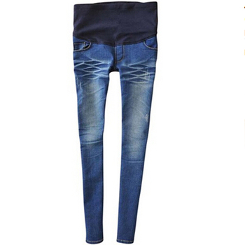 free ship spring adjustable blue  maternity skinny small foot jeans pregnant woman belly pants pencil pants