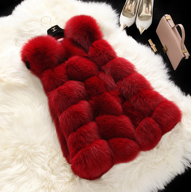 2015 autumn winter women's fashion Artificial fur coat faux fox long vest waistcoat outerwear thicken warm