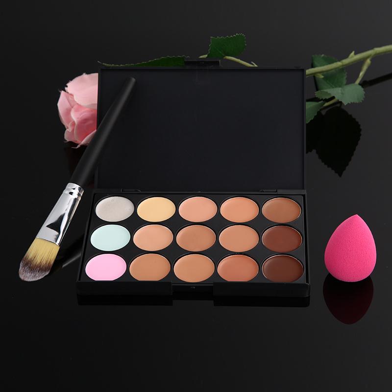 15 Color Concealer Palette Makeup Brush Cute Pink Sponge Puff Makeup Contour Palette Paleta De Corretivo