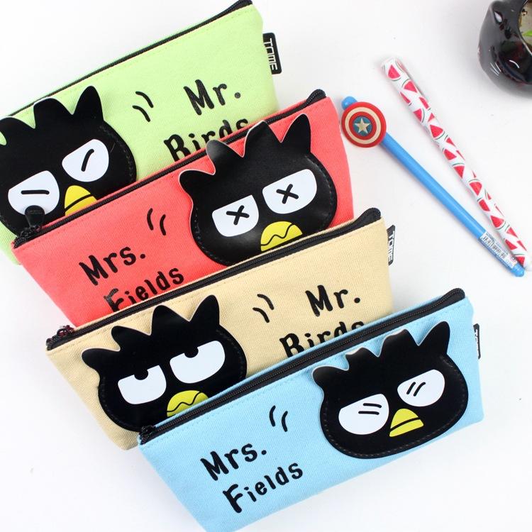 Black Bird Pencilcase Canvas School Supplies Pencil Bag Kawaii Organizador Bts Estuches School Stationery Pencil Box School Bags(China (Mainland))