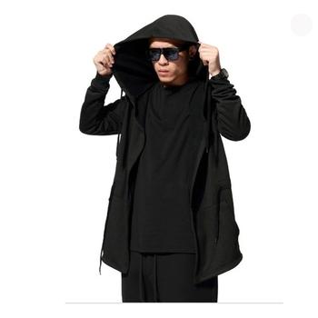 2016 Autumn&Winter Fashion New Black Cloak Hooded Male Streetwear Hip Hop Long Hoodies Clothing Men Outerwear Cool Man
