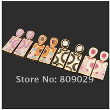 20 pairs Colorful Alloy Plated 18K Gold Ear Pin Ear Ring Fashion Jewelry Earring Pin Post free(China (Mainland))