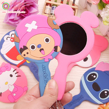 Showtime Korean cute cartoon kitty silicone handle carry portable mirror beauty makeup small mirror(China (Mainland))