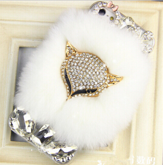 Luxury Bling Diamond Crystal Fox Soft Rabbit Hair Case Cover For Samsung Galaxy S6edge S4 S5 I9500 S6 G9200 note 3 note 4 note5(China (Mainland))