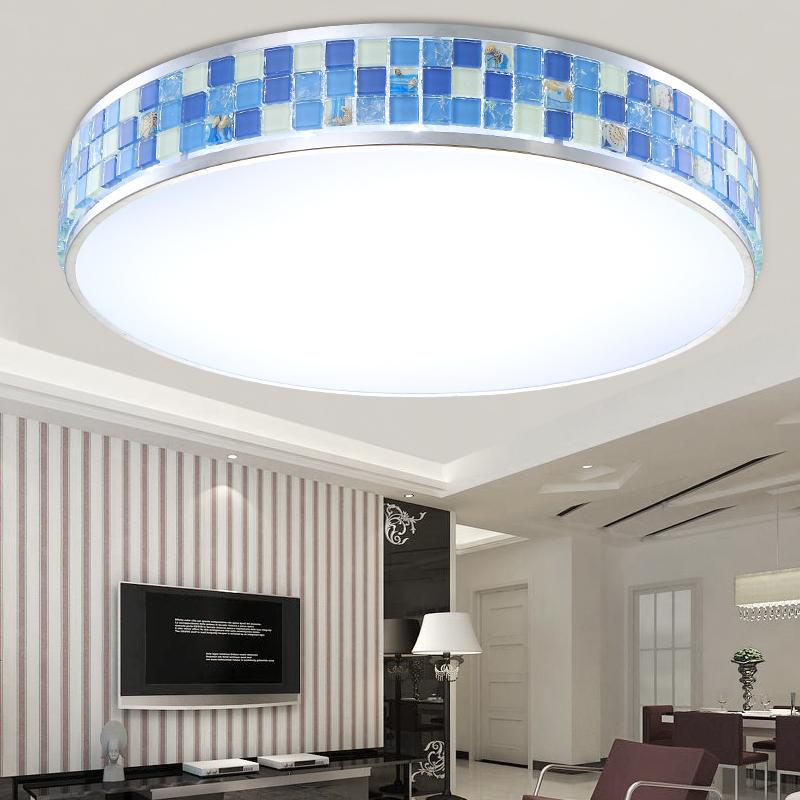 Bema mosaic blue led minimalist living room ceiling lamp for Minimalist bedroom lighting