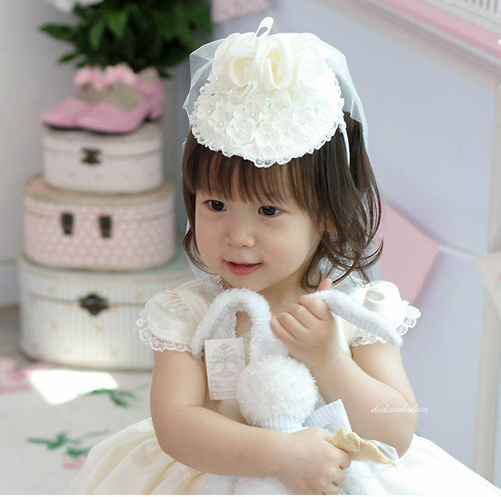 Good Quality Child Accessories Children Wedding Hair Bands Hat Princess Girl Lace Flower