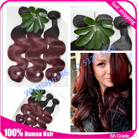 Ombre Hair Extensions 3Pcs Lot Ombre Brazilian Hair Extensions 1b 99j Ombre Brazilian Hair Weave Bundles Rosa Hair Products