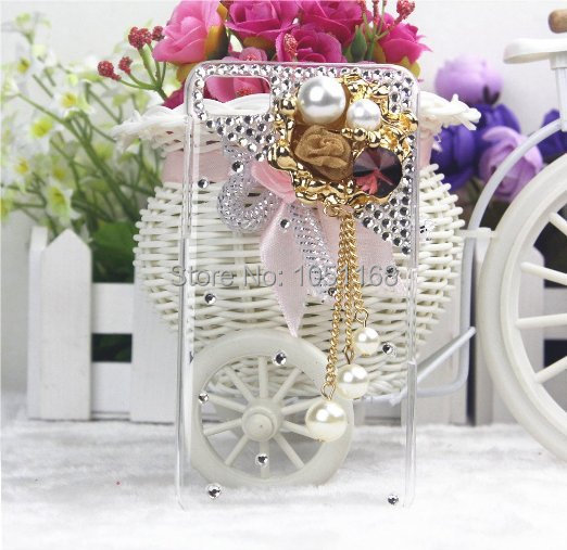Luxury 3d Handmade Luxury Gold Circle Pearl Flower Rhinestone Pendant Bling Hard Cover Case for Blackberry Z10(China (Mainland))