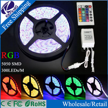 Hot! Good Quality 5M 5050 Flexible RGB LED Strip 60LEDs/M White/Warm White/Red/Blue/Yellow/Green strip For Home Decoration Light(China (Mainland))