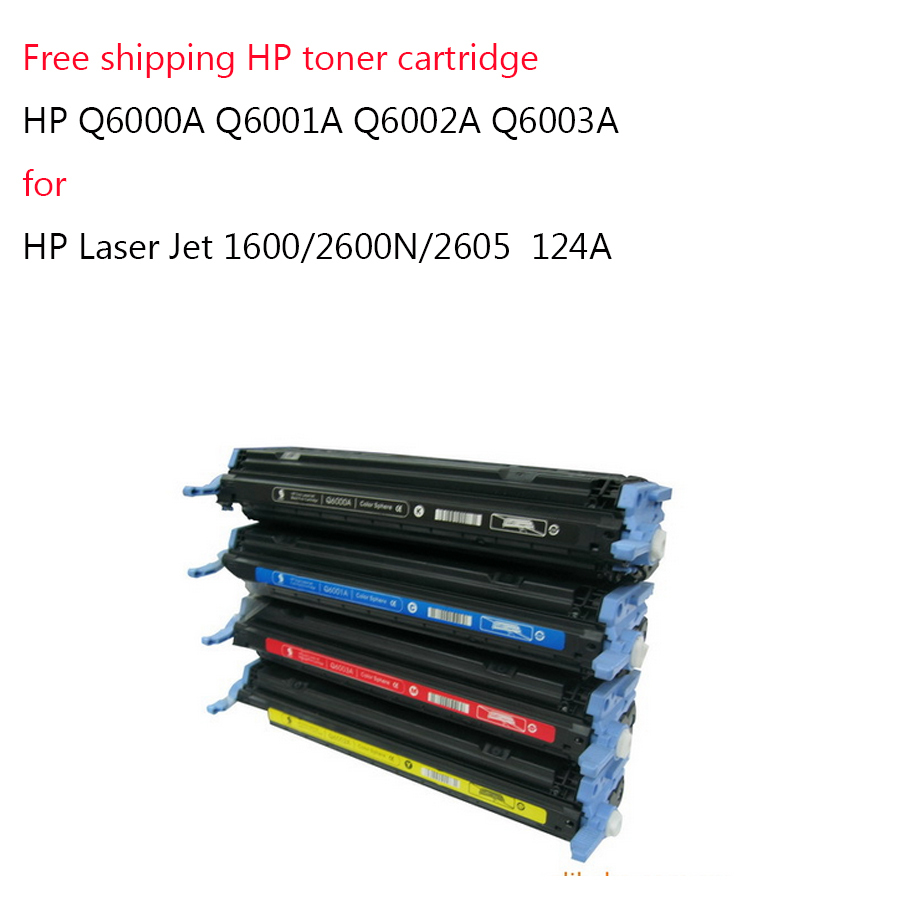 Free shipping toner cartridge HP Q6000A Q6001A Q6002A Q6003A For HP Laser Jet 1600/2600N/2605 124A(China (Mainland))