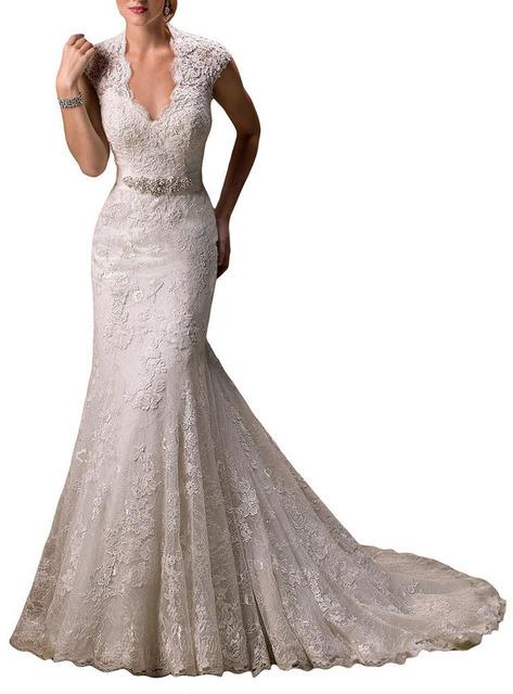 Бесплатная Доставка robe de mariée Реальные Фото Cap Рукава Кружева Designer ...