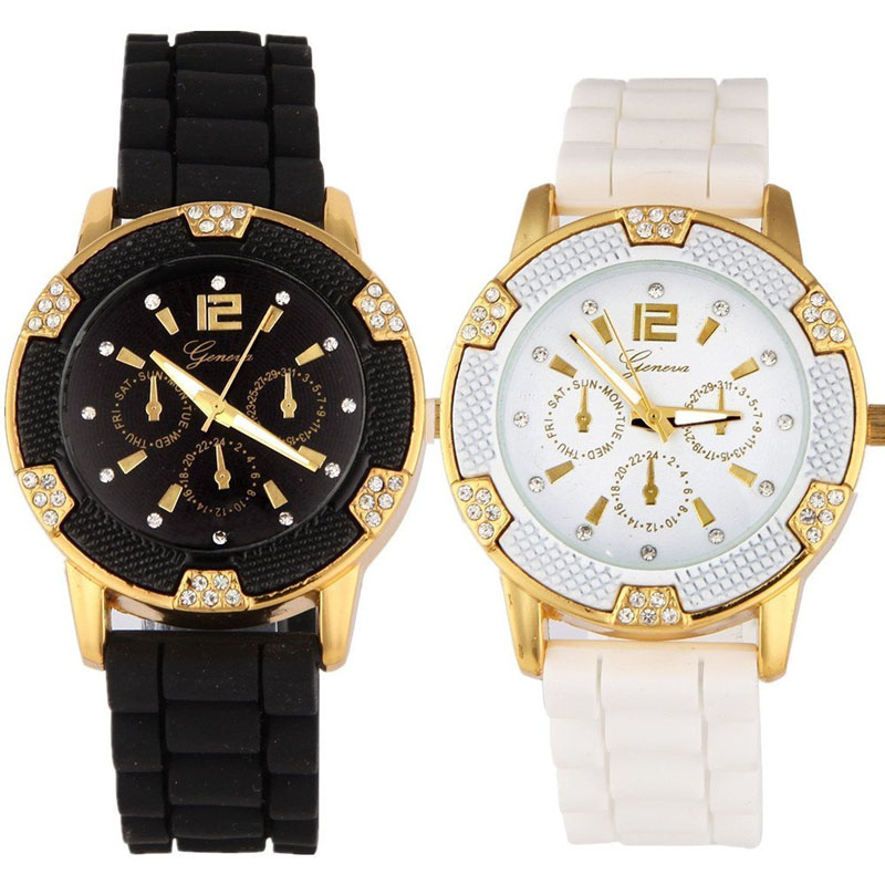 Hot Sale Yoner Special Watch For Ladies Rose Gold Chronograph Silicone with Crystal Rhinestones Bezel 0204<br><br>Aliexpress