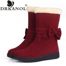 2017 nuevas mujeres de la llegada botas de nieve sólido bowtie slip on flat invierno mitad de la pantorrilla mujeres calientes botas de algodón femeninos acolchado zapatos(China (Mainland))