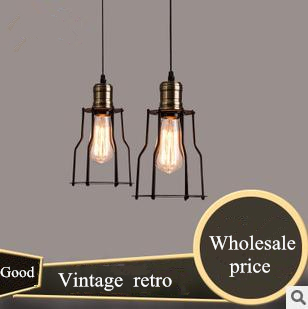 Metal Loft pendant lights Northern american vintage industrial lighting antique wrought-iron dining room Edison pendant light(China (Mainland))