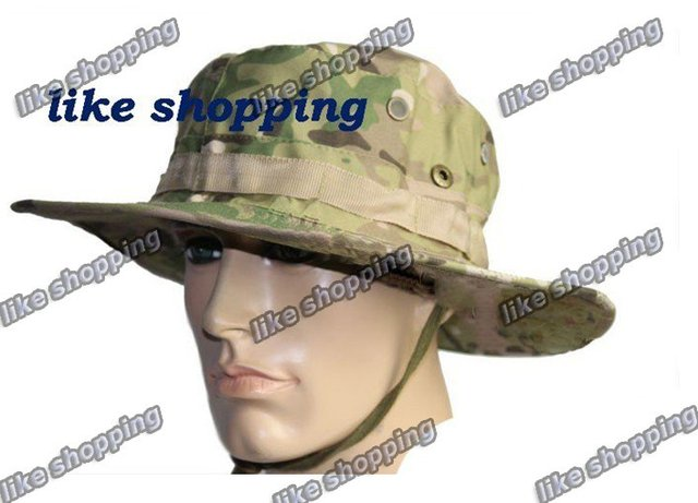 Round-brimmed Hat Sun Bonnet Woodland Camo Outdoor Cap for Fishing Hiking MULTICAM BOONIE HAT
