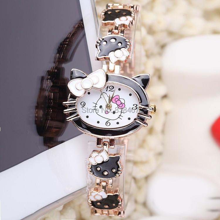 Relojes Mujer 2015 Montre Femme Relogio Feminino Fashion Quartz Table Rose Gold Bracelet Women Watches Hello Kitty Cartoon Watch(China (Mainland))